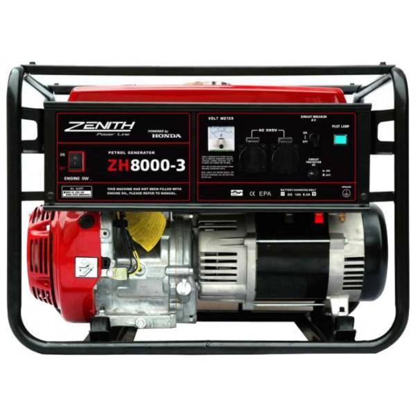 Генератор бензиновый ZENITH ZH8000-3  генератор бензиновый zenith zh7000 3