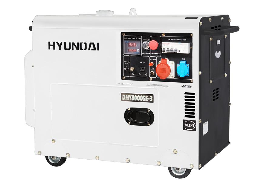 Генератор дизельный Hyundai DHY 8000 SE-3  генератор дизельный hyundai dhy 6000 le колеса