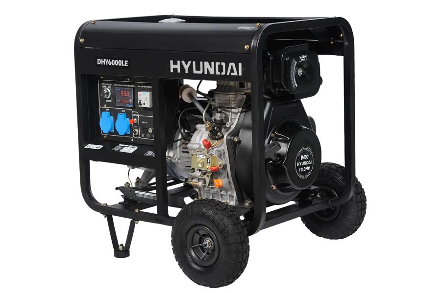 Генератор дизельный Hyundai DHY 6000 LE+колеса  генератор дизельный hyundai dhy 6000 le колеса