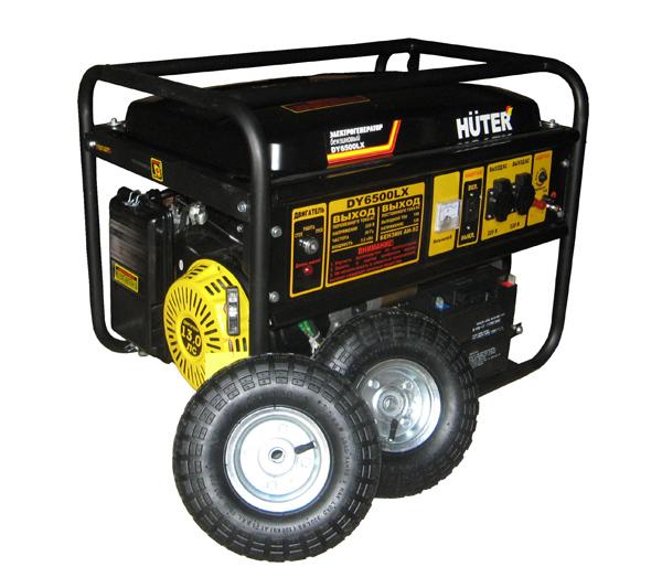 Подробнее о Бензиновый генератор HUTER DY6500LX, колеса и акк. генератор бензиновый huter dy8000lx