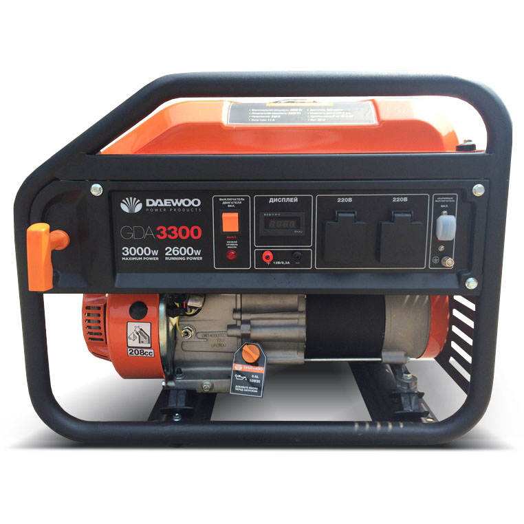 Генератор бензиновый DAEWOO GDA 3300  бензиновый генератор daewoo gda 7500e 3