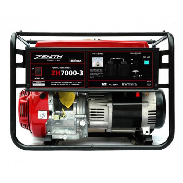 Генератор бензиновый ZENITH ZH7000-3  генератор бензиновый zenith zh7000 3