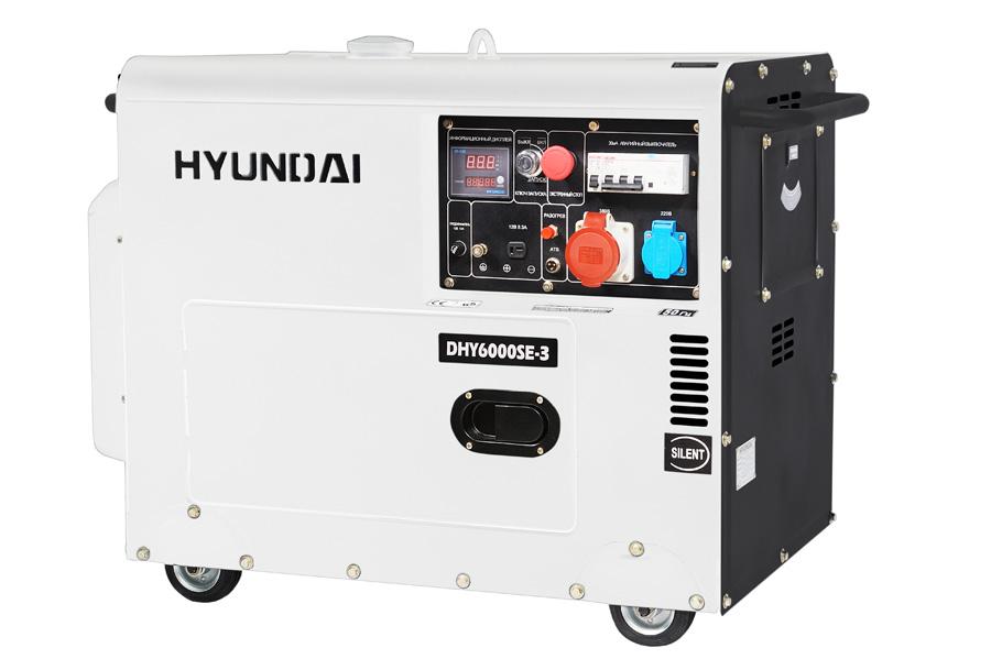 Генератор дизельный Hyundai DHY 6000 SE-3  генератор дизельный hyundai dhy 6000 le колеса
