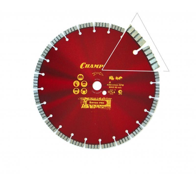 Диск алмазный CHAMPION бетон PRO 350/25,4/12 Concrete Crunch  диск алмазный champion бетон st 400 25 4 10 concremax