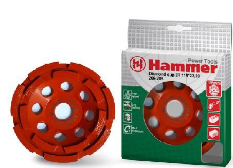 Подробнее о Чашка алмазная HAMMER 206-206 CUP 2R 125*22,23 двухрядная чашка алмазная hammer 206 202 cup tb 125 22 23 турбо