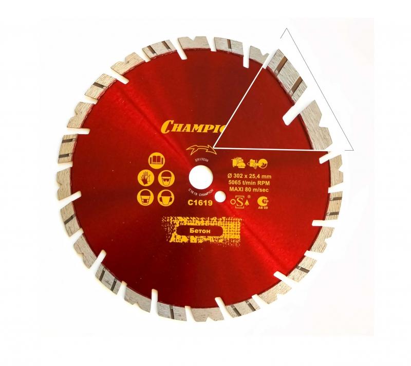 Диск алмазный CHAMPION универсальный ST 300/25,4/14 Fast Gripper  диск алмазный champion бетон st 400 25 4 10 concremax