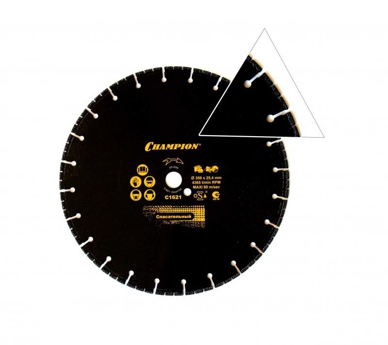 Диск алмазный CHAMPION спасательный  PRO 350/25,4/4 V-tech Multi Purpose  диск алмазный champion бетон pro 400 25 4 12 concrete crunch